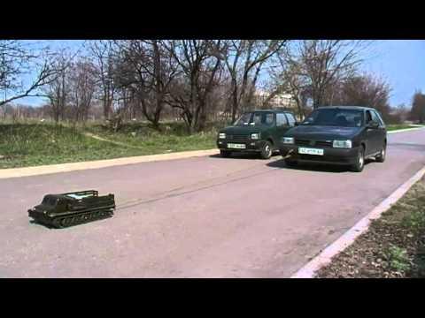 ATS-59 RC artillery tractor pulls car