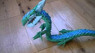 3d Origami Dragon Blue And Green