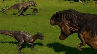 Jurassic World Evolution - 2 Indoraptor vs 2 Tyrannosaurus Rex (1080p 60FPS)