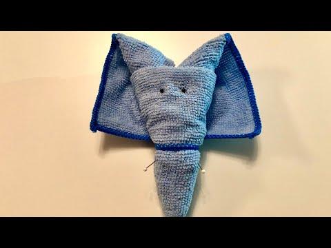 Elefant basteln mit einem Handtuch - Bastelideen - Geschenke selber machen - towel elephant DIY
