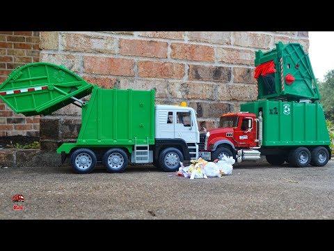 Garbage Truck Videos For Children l Bruder Mack vs Battat Driven Review l Garbage Trucks Rule