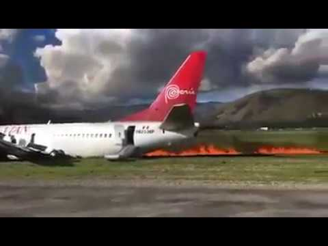 Avión de Peruvian Airlines se incendia Peru-Huancayo