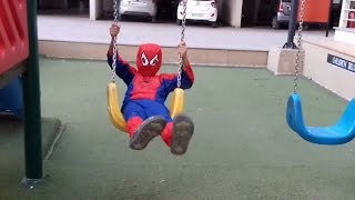 Children Playing In The Park Young SPIDERMAN Roundabouts Swing Slide SeeSaw