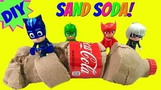 DIY How To Make Kinetic Sand Coca Cola - PJ Masks Turn Luna Girl's Soda into Sand!