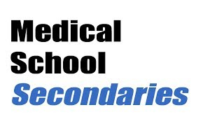medical school secondaries with no essays For each medical school you apply to, you're going to need to create a secondary essay that answers that school's specific questions and that showcases your talents and tells your story in a way that demonstrates your unique fit for that particular program.