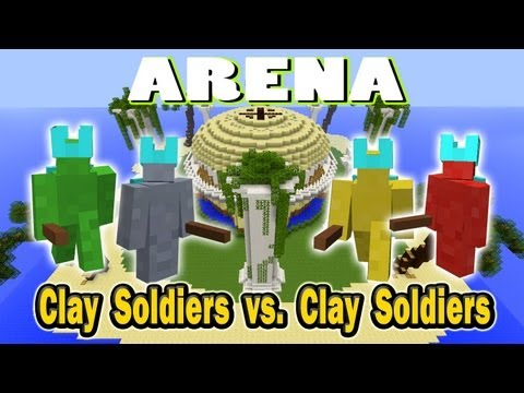 Minecraft Arena Battle Clay Soldier vs Clay Soldier - Red vs Yellow vs Grey vs Green