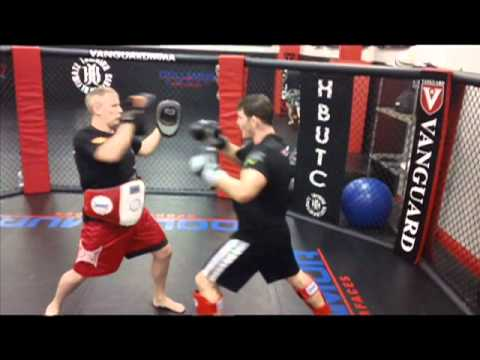 Michael Bisping and Quinton Rampage jackson training for Jason Miller @ HBUTC hitting pads Image 1