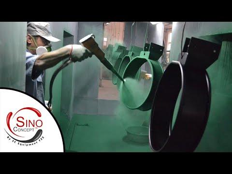 Anti-terrorism litter bin powder coating video Sino Concept China