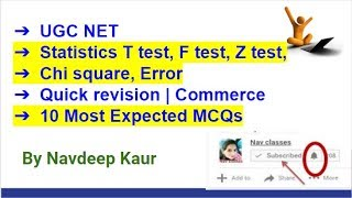 UGC NET   Statistics T test, F test, Z test, Chi square, Error   Quick revision   Commerce