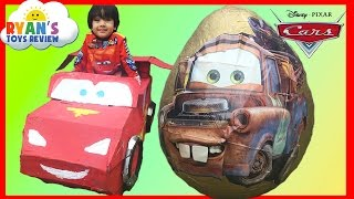GIANT EGG SURPRISE OPENING Disney Cars Toys Tow Mater Lightning McQueen Kids Video Ryan ToysReview