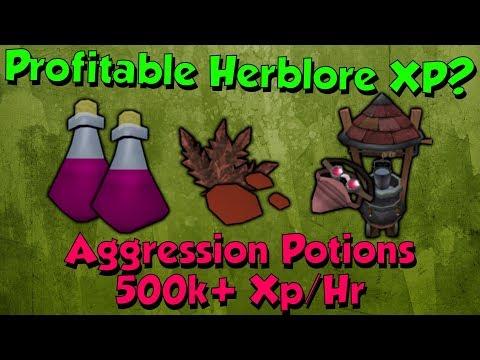 Profitable Herblore! Aggression Potions [Runescape 3] 500-600k Xp/Hr!