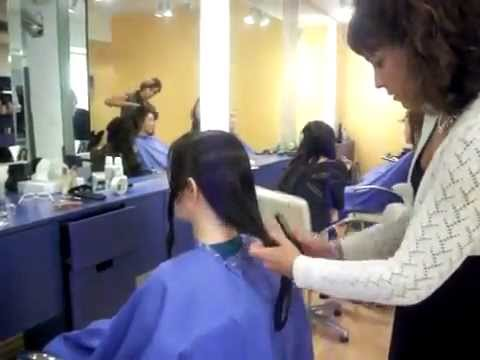 haircut on long and curly hair lady ( press like for long and dislike for short)