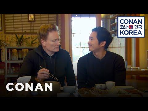 Conan & Steven Yeun Enjoy A Traditional Korean Meal