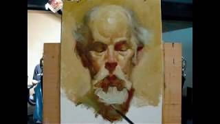 """The poet"", alla prima portrait demo of Gregory, a 130 minutes painting by Zimou Tan"