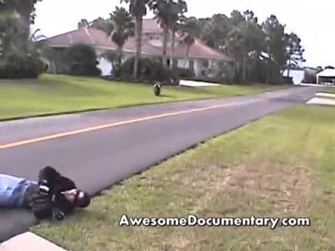 Motorcycle Stunt Wreck Bike hits house FAIL!