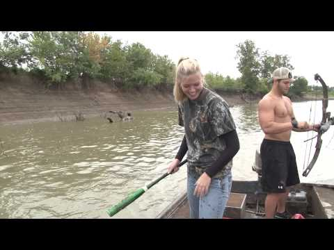 Aerial Bowfishing with Bows, Bat, and Sword