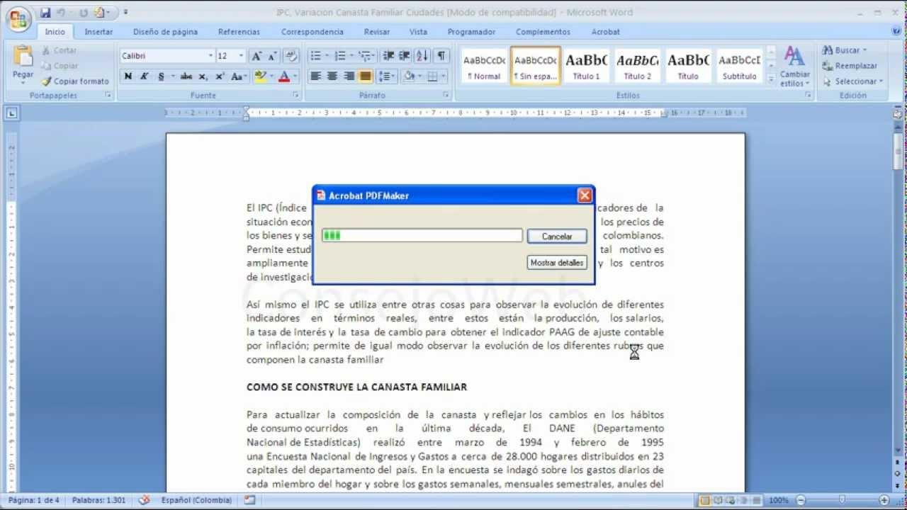 Word 2007 2010 Como convertir un documento de word a PDF