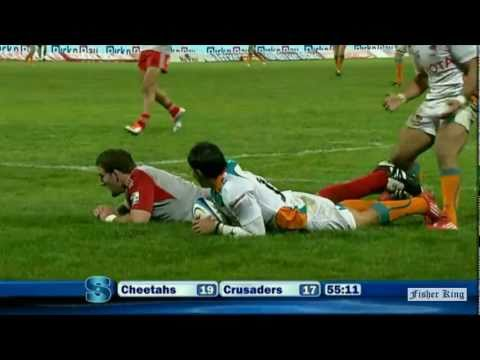 Super Rugby Video Highlights 2011 - Cheetahs' Sias Ebersohn's try vs Crusaders - Cheetahs' Sias Eber