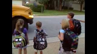 Izzy and Max First School Bus!