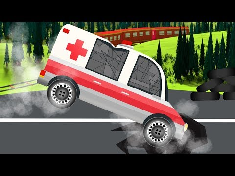 Ambulance Car and Police Cars Emergency Vehicles in Ambulance Garage kids car cartoons