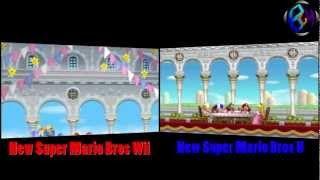 New Super Mario Bros Wii Vs. New Super Mario Bros U (Side by Side)