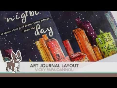 Starry Night Cityscape Art Journal Layout