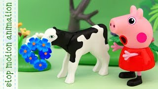 Missing flowers Peppa Pig TV toys stop motion animation