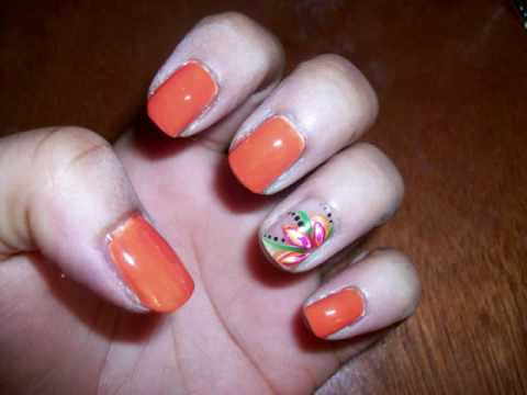 flower designs for nails. Neon Orange Nails w/Flower