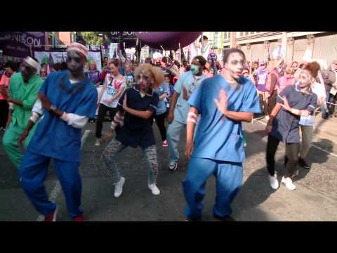 Unite union 'Thriller' flash mob protest against NHS cuts