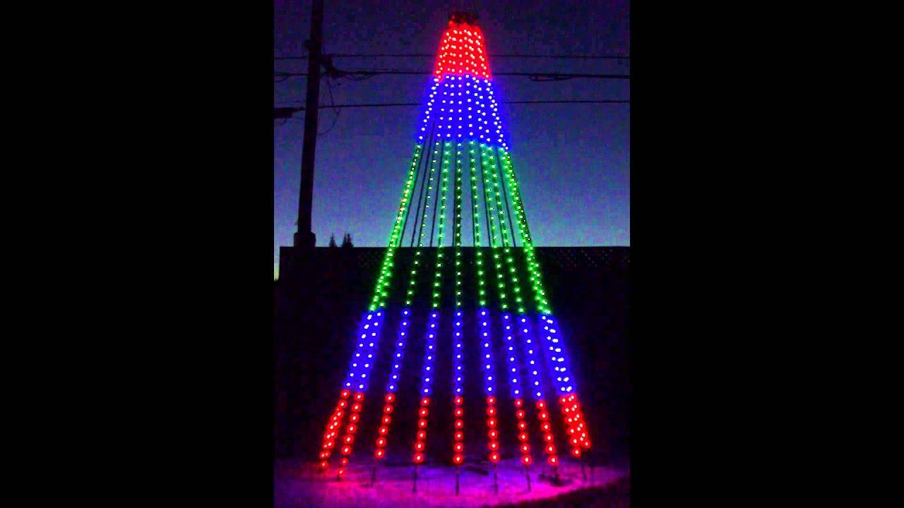 How To String Lights On A Mega Tree : RGB Pixel Mega Tree Test - YouTube