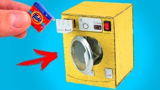 Mini Washing Machine from Cardboard for KIDS