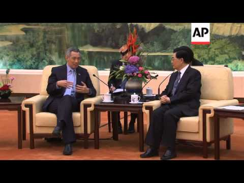 Visiting Singapore PM meets Chinese President Hu Jintao