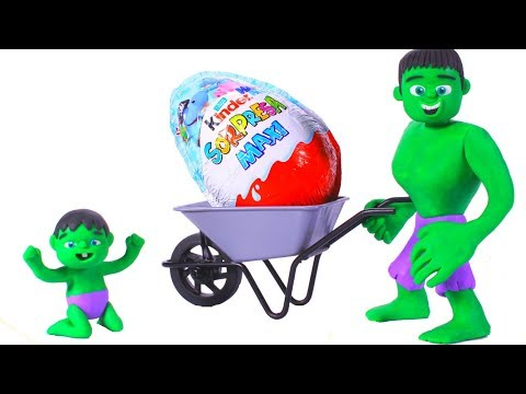 HULK & THE GIANT KINDER SURPRISE EGG ❤ Spiderman, Hulk & Frozen Play Doh Cartoons For Kids