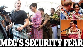 Meghan Markle Fiji tour - Meghan pregnant's new bodyguard is rushed out of a market in Fiji