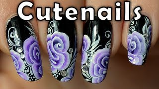 Nail art one stroke : spiral rose