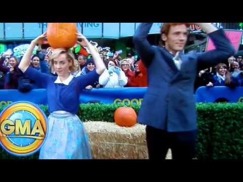Sam Claflin tosses pumpkins at GMA