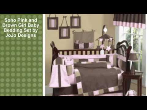 0 Soho Pink and Brown Girl Baby Bedding Set by JoJo Designs