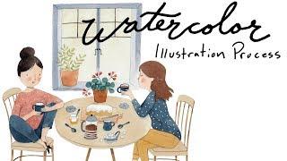 Watercolor Illustration Process ◆  Coffee Friends