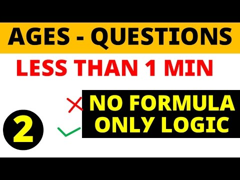 Ages problems less than 1 minute - NO FORMULA for  SSC , BANK PO , other Govt exams thumbnail