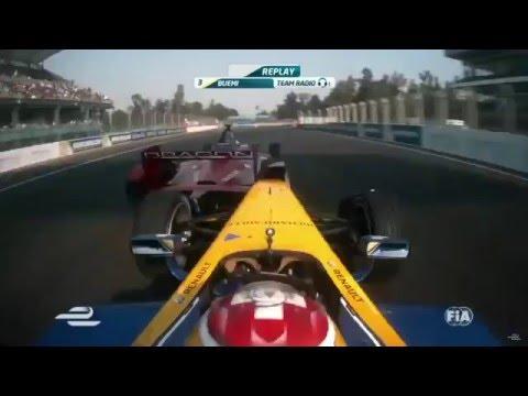 Formula E 2016. Mexico City ePrix. Buemi vs. d'Ambrosio