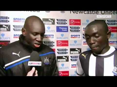 Newcastle vs Aston Villa 2-1 - Demba Ba & Papiss Cisse interview