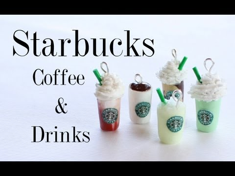 Starbucks Coffee & Drinks - Polymer Clay Miniature Cup, Frappuccino, Lemonade, Green Tea & Mocha