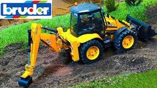 RC Bruder JCB Backhoe tractor excavator at work!