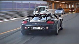 Porsche Carrera GT burnouts and driving in Monaco!