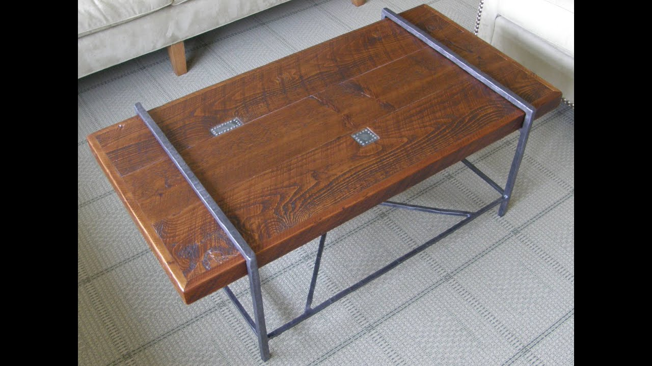 Reclaimed Wood Coffee Table Top With Metal Base Youtube