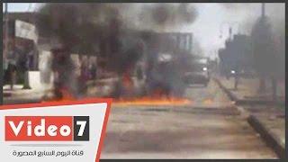 طلاب معهد تكنولوجيا العبور يقطعون طريق الإسماعيلية للمطالبة بكوبرى مشاة