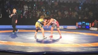 pro wrestling league 2017:sakshi malik vs pooja dhanda part 2(delhi sultan vs jaipur ninjas)