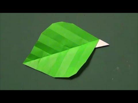 """簡単「葉っぱ」折り紙2""""leaf ..."""