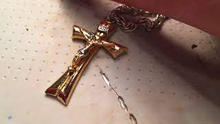 14k White Gold Rope Chain With. Two-Tone Gold Cross