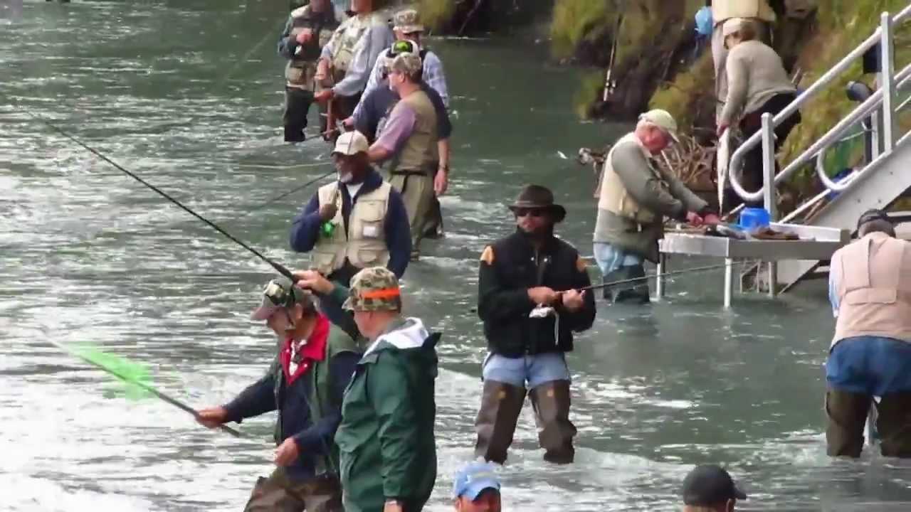 Aoj 39 s sockeye salmon slugfest 2010 kenai river youtube for Kenai river fish counts